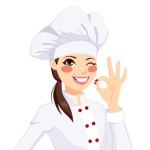 Chef Woman Gesturing Okay Sign